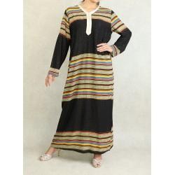 Robe orientale manches longues à paillettes et rayures multi-couleurs horizontales -...