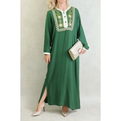 Algerian dress with embroidery and rhinestones - Color Fir green