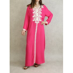 Long Algerian dress with embroidery and rhinestones kaftan style - Pink color