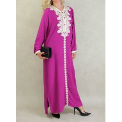 Long Algerian dress with embroidery and rhinestones kaftan style - Color Magenta