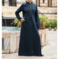 Denim Canvas Dress - Denim Asilah Dress [wD1642]
