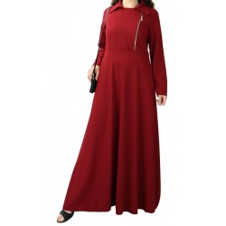 Very long flared dress with zip - Color Burgundy red