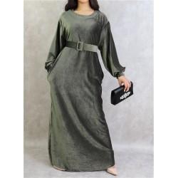Khaki green velvet effect dress