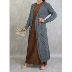 Long gray mesh cardigan