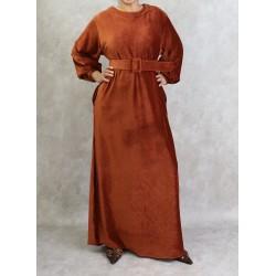 Velvet-effect dress in rust color