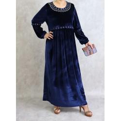 Robe en velours avec broderies - Couleur bleu marine