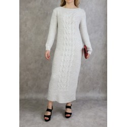 Long knitted dress in off-white color