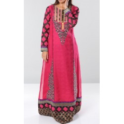 Long raspberry evening dress with shiny embroidery