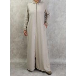 Robe hiver zippée à capuche motifs chevron de couleur beige