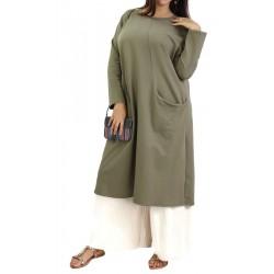 Tunique longue Sportswear en coton avec une grande poche (Plusieurs couleurs disponibles)