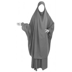 Adult jilbab 2 pieces - Cape + Flared skirt - Gray color