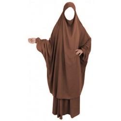 Jilbab adulte 2 pièces - Cape + Jupe évasée - Couleur marron clair