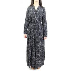 Robe longue couleur noire à motifs fleuris gris clairs