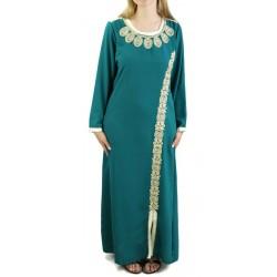 Robe brodée et perlée - Couleur Vert émeraude