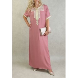 Moroccan summer dress short sleeves with embroidery - Color Old Pink