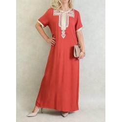Robe marocaine d'été manches courtes avec broderies - Couleur Rouille