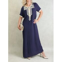 Robe marocaine d'été manches courtes avec broderies (Plusieurs couleurs disponibles)