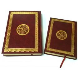 Lot de deux Coran en arabe (moyen et grand) - Lecture Hafs - Couverture cartonnée rouge...