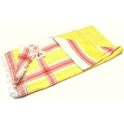 Palestinian scarf (Ghutra) original handcrafted red and yellow