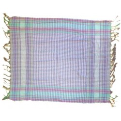 White Palestinian scarf with green and purple checks (100% cotton)