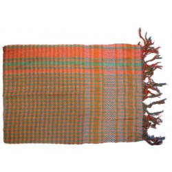 White Palestinian scarf with red, orange and green checks (100% cotton)