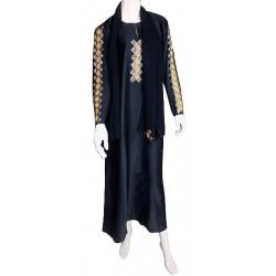 "Black abaya ""Dubai"" satin fabric with rhinestones"