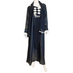 "Black abaya ""Dubai"" satin fabric decorated with rhinestones with its matching scarf"