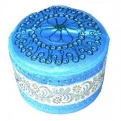 Sky blue rigid chachia with pretty decorations