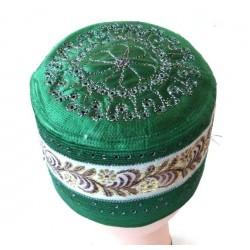 Chéchia (Chachia) verte rigide avec de jolies décorations