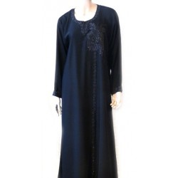 Black abaya with black flower embroidery with matching scarf