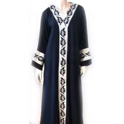 Black abaya white patterns with matching scarf