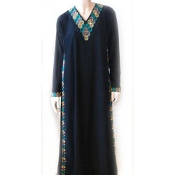 Black abaya with embroidery (green, yellow and taupe patterns) and its matching scarf