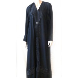 Long black dress (Abaya) with rhinestones and black diamonds and its matching scarf
