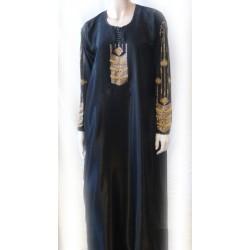 "Black abaya ""Dubai"" satin fabric decorated with golden rhinestones with matching scarf"