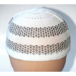 Stretch white chachia with black patterns for men