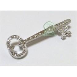 Silver key shaped brooch
