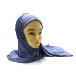 Hijab one piece blue gray with elastic material