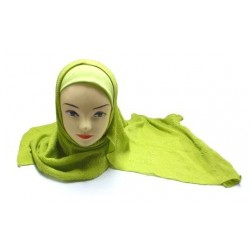 One-piece olive green hijab with beautiful patterns