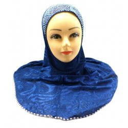 One-piece hijab in navy blue color decorated with diamond-shaped beads with fabric...