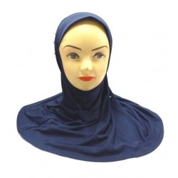 One-piece midnight blue hijab decorated with pearls