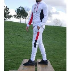 """Ensemble survêtement jogging homme Blanc, gris et rouge de la marque """"Best Ummah"""""""