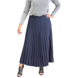 Jupe longue plissée - Couleur Bleu Nuit