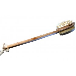 Double-sided wooden brush with exfoliating side and massage side (for the back and body)