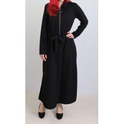 Robe longue fermeture zip avec ceinture (taille standard) - Noire