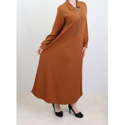Robe longue fermeture zip avec ceinture (taille standard) - Marron
