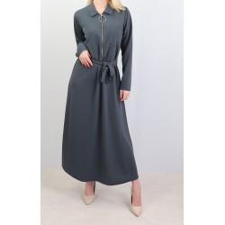 Robe longue fermeture zip avec ceinture (taille standard) - Gris foncé