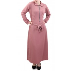 Robe longue fermeture zip avec ceinture (taille standard) - Vieux rose