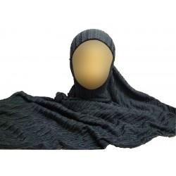 Dark gray hijab with patterns -1 piece