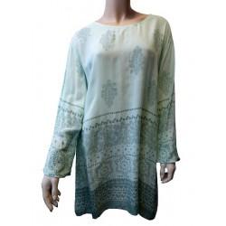 Tunique de couleur vert d'eau motifs vert gris fleuris pour femme - Taille standard