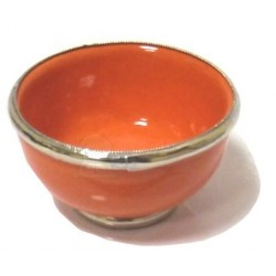 Small Moroccan pottery bowl, enamelled orange and surrounded by silver metal